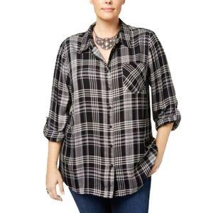 Women's Plus Black Plaid Button Down Shirt Top